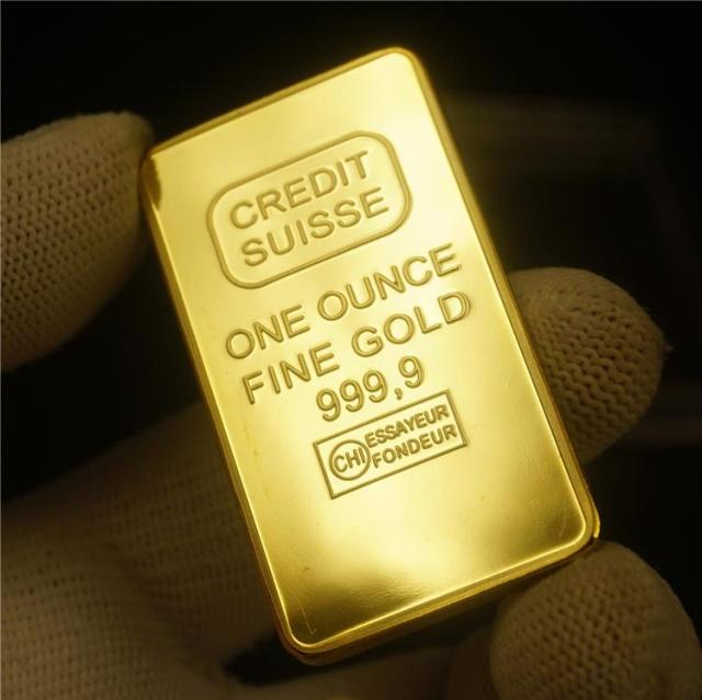 Grosir 1 Oz 24ct Berlapis Emas Credit Suisse Berlapis Emas Batangan