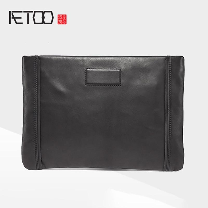 AETOO Handbag man casual soft leather handbag vintage sheepskin fashion leather man hand grab envelope bag