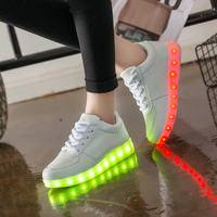 YPYUNA Glowing Luminous Sneakers Baskets with Light USB Charger Children Led for Boy&Girl Light Up Shoes