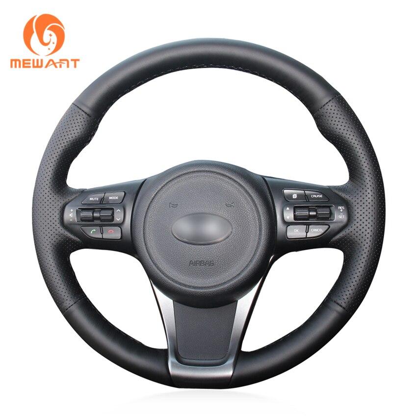 MEWANT Black Genuine Leather Car Steering Wheel Cover for Kia Sorento 2015 mewant black genuine leather car steering wheel cover for old kia sorento 2004 2008