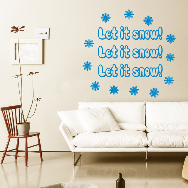 Happy New Year Wall Decal Quote Let It Snow Snowflakes Wall Sticker Merry  Christmas Vinyl Decals