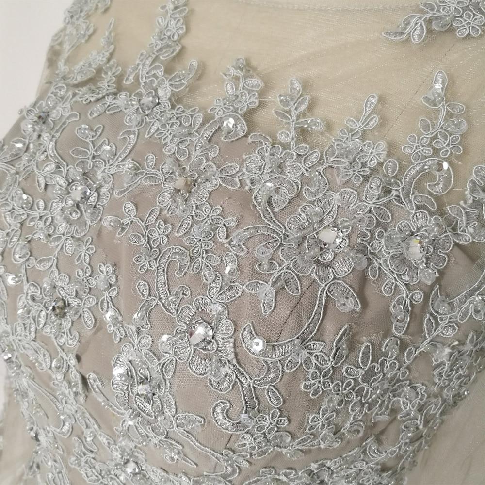 JIERUIZE Grå Chiffon Lange Ermer Kjole A-Line Lace Appliques Beaded - Spesielle anledninger kjoler - Bilde 5