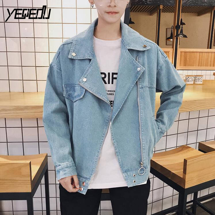 #3439 Spring Blue/Black denim jacket men Streetwear Jaqueta jeans masculina Fashion Loose Oblique zipper coats Chaqueta hombre