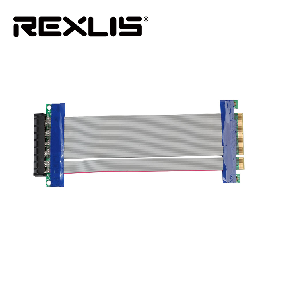 REXLIS PCI-E Express 8X Riser Card Extender Extension Flexible Cord Ribbon Cable Connector Adapter