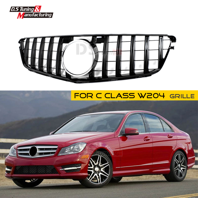 New Arrivals W204 GT Grille for Mercedes C Class ABS Material Gloss Black Racing Grill C250 C280 C300 2009-2014