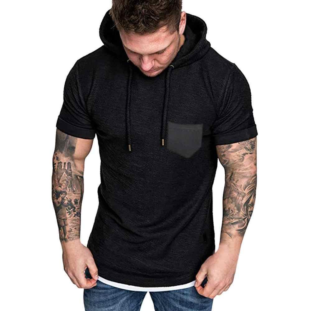 2019 Desain Baru Gym Kaos Bertudung Olahraga Kemeja Pria Solid Lengan Pendek Kebugaran Tshirt Pakaian Jogging Menjalankan Penjaga Ruam Kemeja
