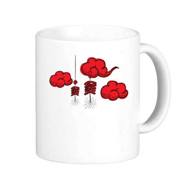 Firecrackers <font><b>Chinese</b></font> Zodiac Sign Happy <font><b>New</b></font> <font><b>Year</b></font> Classic Mug White Pottery Ceramic <font><b>Cup</b></font> Milk Coffee With Handles 350 ml