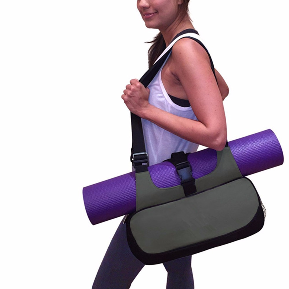 Multifunctional Yoga Fitness Mat Canvas Bag Backpack Shoulder Messenger Sport Bags Duffel Handbag