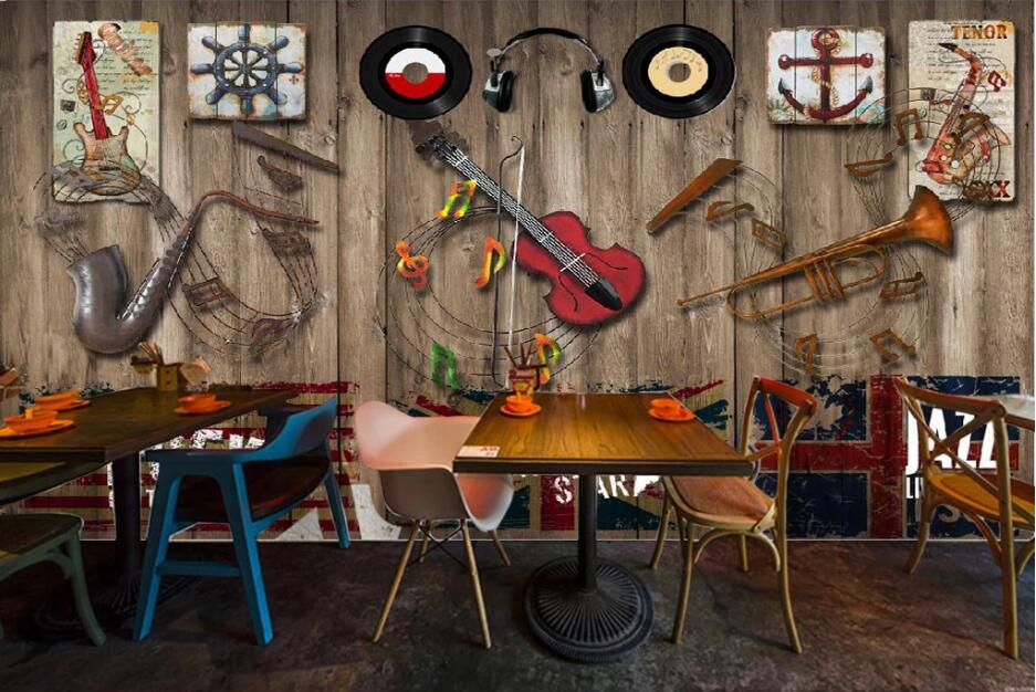Custom wallpaper mural retro nostalgic musical instrument bar background wall