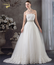 Jeanne Love New Arrival Fashion A Line Vintage Wedding Dresses Strapless Diamond Bridal Dress 2017 Robe De Mariage JLOV75940
