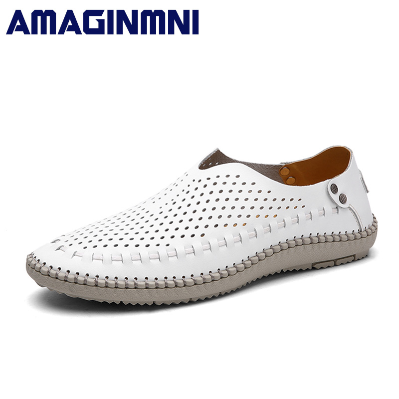 AMAGINMNI Summer Causal Shoes Men Loafers Genuine Leather Moccasins Men Driving Shoes Breathable High Quality Flats shoes men amaginmni summer style soft moccasins men loafers high quality genuine leather shoes men flats driving shoes casual shoes men