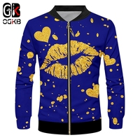 OGKB Brand Mouth Lips Gold and blue Men Zip Jacket 3d Whole Body Printing Glitter Casual 2019 Cool Harajuku 6XL