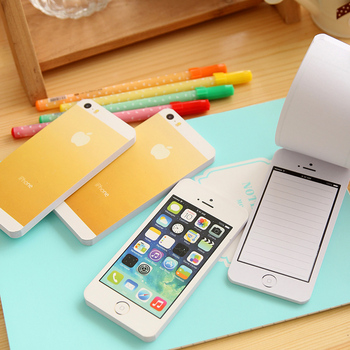 1 PCS Creative White Fashion Sticky Post Note Paper Cell Phone Shaped Memo Pads DIY For Iphone 5