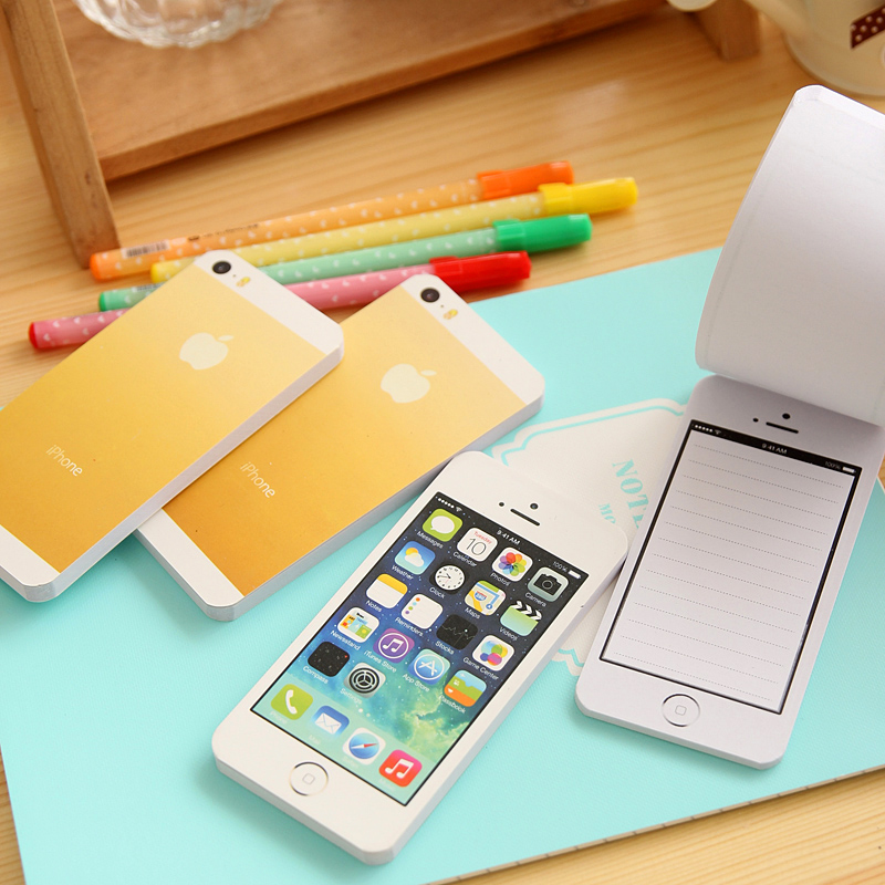 1 PCS Creative White Fashion Sticky Post Note Paper Cell Phone Shaped Memo Pad Memo Pads Paper Note Pad DIY For Iphone 5