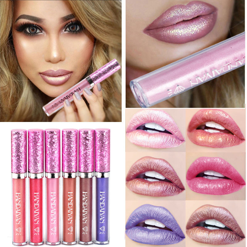 new 6 Color HANDAIYAN Diamond Shine Metallic Lipstick Charming Long Lasting Tattoo Liquid Lipstick Glitter Powder
