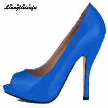LLXF female Elegant stilettos 11cm thin heels wedding shoes woman Peep Toe pumps sapato feminino Plus:35-41 42 43 Drop shipping