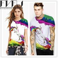 Fashion 2017 Summer Style T Shirt Women 3D Print Unicorn T Shirt Women Girls Couples Tee
