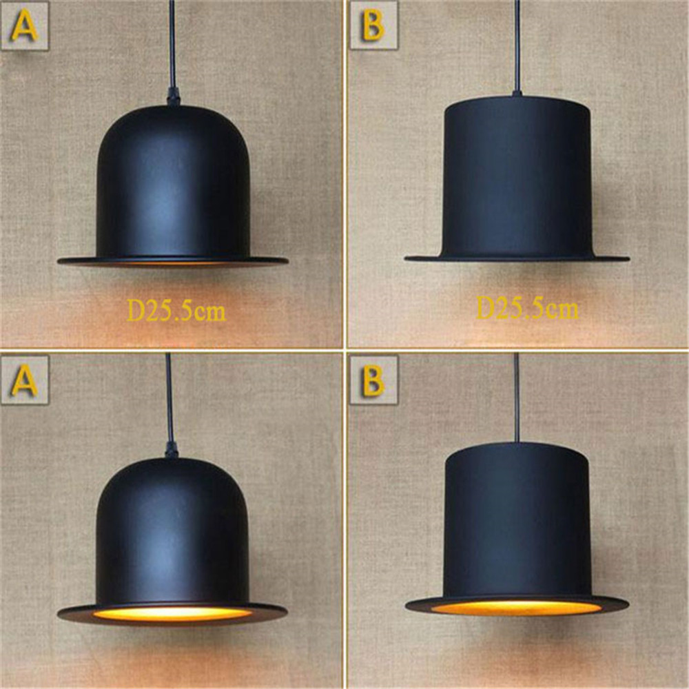 Art decor black hat pendant lights iron minimalist retro Scandinavian loft pendant lamp metal Hanging Lamp E27 Indoor american art creative retro vintage pendant lights spring iron hanging pendant lamp indoor iron black pendant lamp light