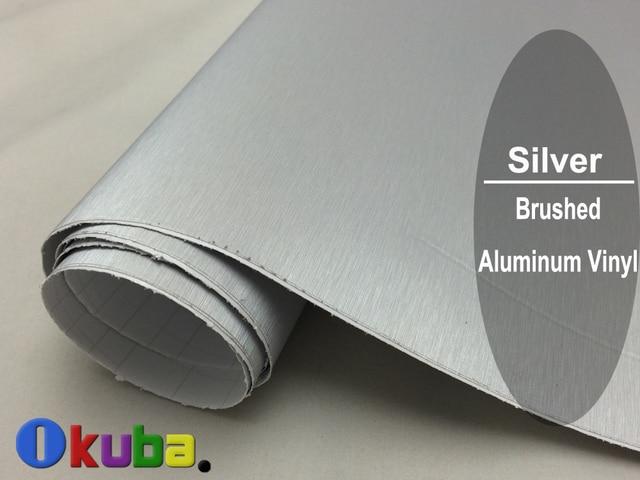 Wholsale FedEx FREE SHIPPING Silver Metallic Brushed Aluminum Vinyl car Wrap Film Size:1.52*30M/roll