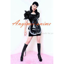 Free Shipping Sexy Sissy Maid Dress Black Pvc Dress Maid Uniform Cosplay Costume Tailor-made
