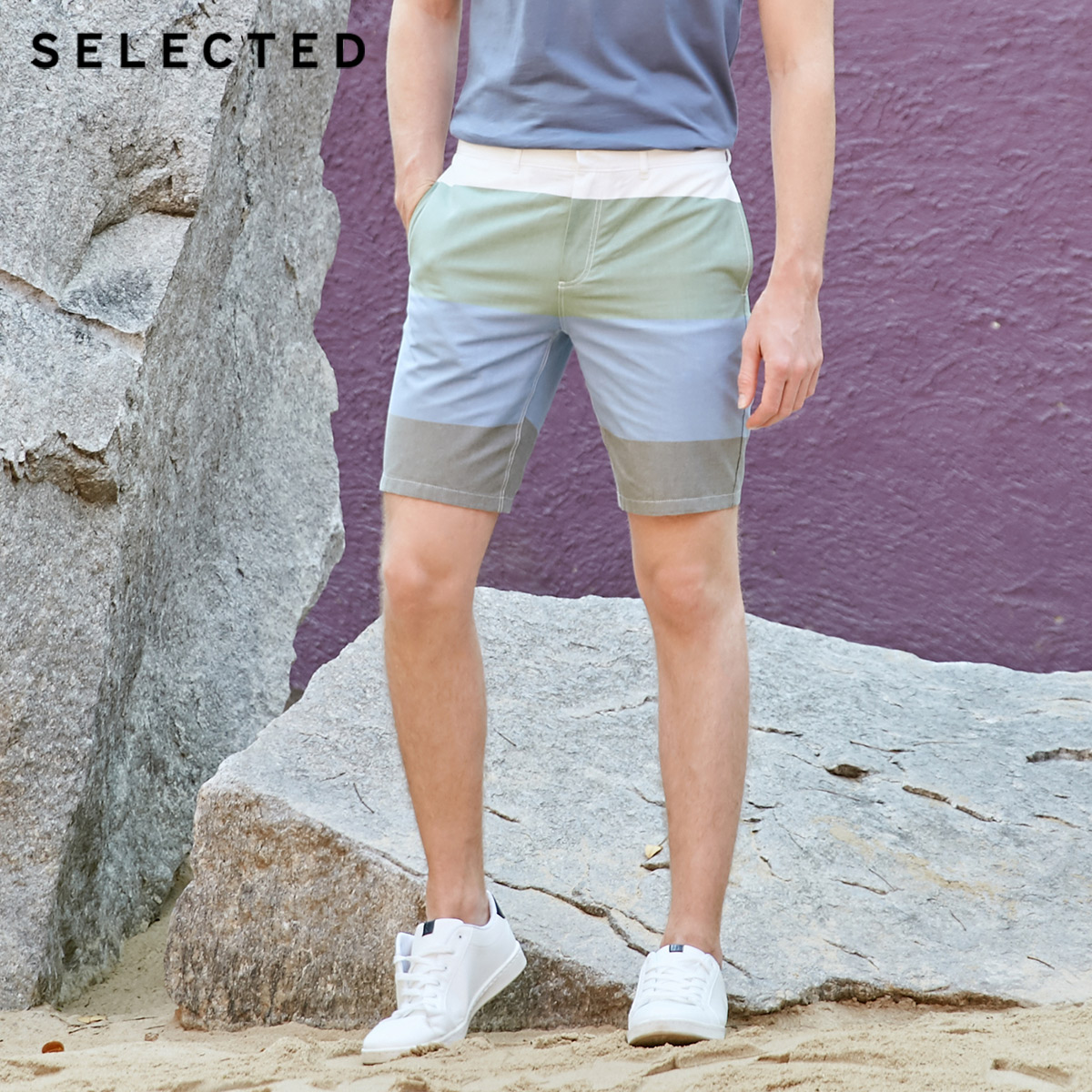 SELECTED Men's Spring 100% Cotton Assorted Colors Straight Fit Striped Shorts C|4192SH508