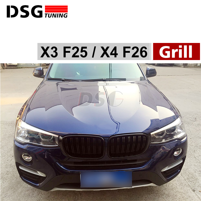X3 F25 X4 F26 Front Bumper Grills For BMW X3 X4 F25 F26 2014 - Present Model Kidney Grille Mesh car styling stainless steel interior trim air conditioning cd control panel decoration cover for bmw x3 f25 x4 f26 accessories