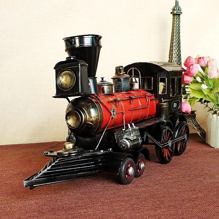 Vintage Train Head Model Metal Iron Simulation Train Model Steam Engine Crafts Decoration Claasic collective Decor 7310