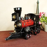 Vintage Train Head Model Metal Iron Simulation Train Model Steam Engine Crafts Decoration Claasic Collective Decor