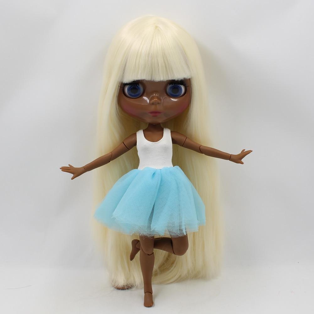 Super Tan Blyth doll light golden straight hair with bangs bjd 1/6 joint body 30cm fashion nude blyth doll toys blyth nude 30cm fashion red and black boneca cabelos longos bonecos colecionaveis doll toys for children girls