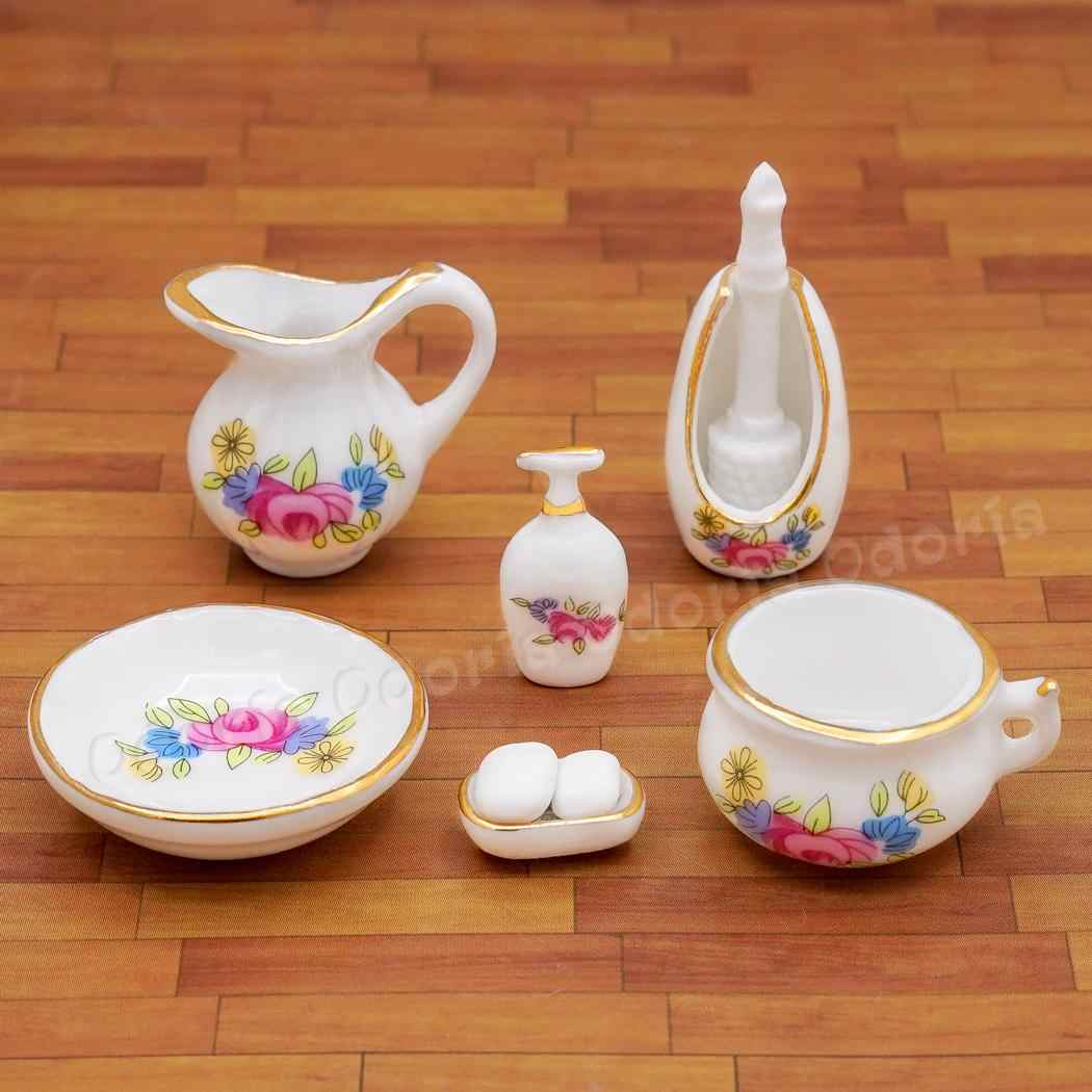 Odoria 1:12 Miniature Bathroom Sanitary Kit 7PCS Soap Dispenser Shampoo Set Porcelain Dollhouse Furniture Accessories
