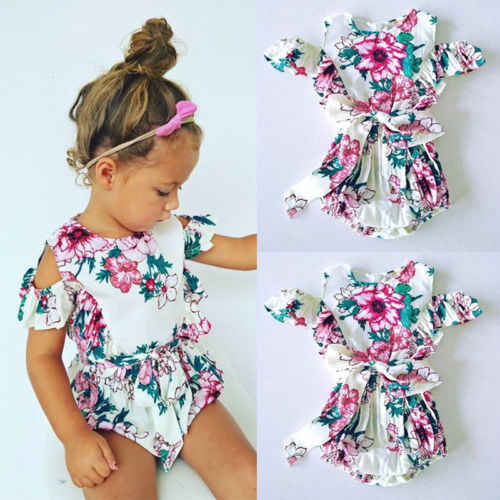 1dbe78b2b42a 2018 Newest Cute Kids Baby Girl Floral Romper Jumpsuit Playsuit Children  Summer Cotton Off Shoulder Outfits