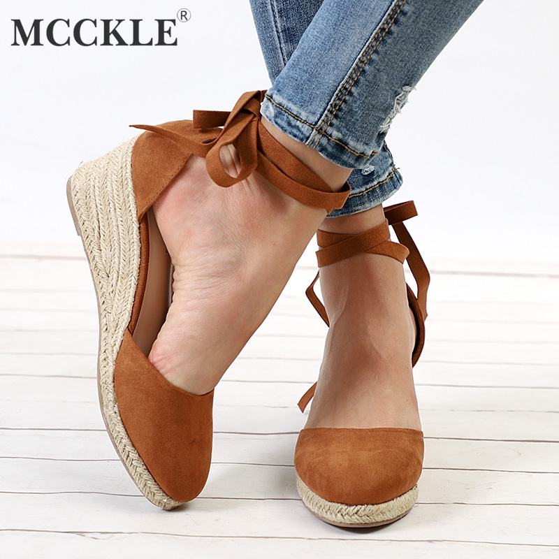 MCCKLE Fashion Wedges Shoes Ankle Strap Summer Pumps Female High Heels Straw Cover Heels Shoes For Ladies Platform Espadrilles цена