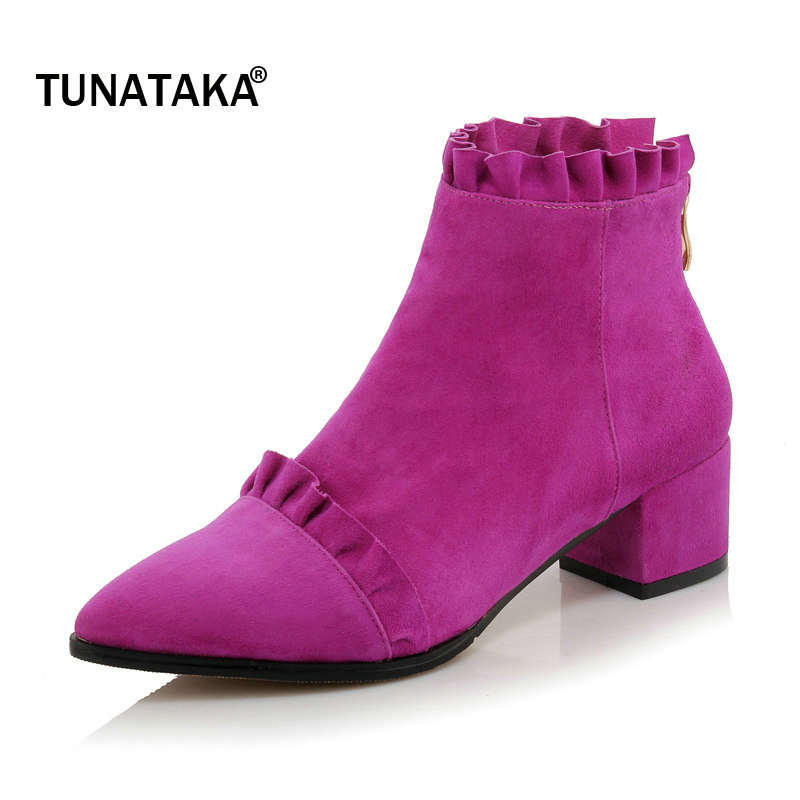 все цены на Woman Suede Comfort Square Heel Back Zipper Ankle Boots Fashion Pointed Toe Ruffles Dress Autumn Winter Boots Black Green Purple