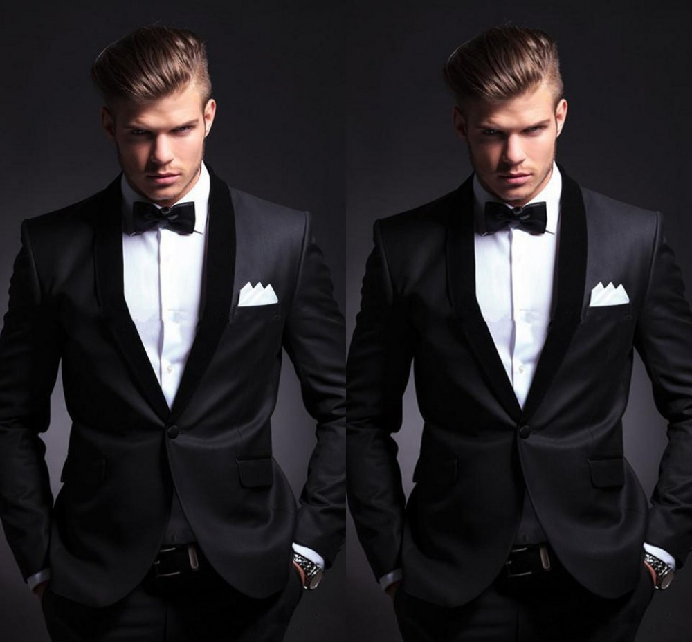 New Design Black Wedding Suits 2018 Cheap Groomsmen Tuxedos Custom Made Business Suit Men Prom Party Suits (Jacket+Pant+Tie)