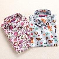 Hot Summer Style Floral Blusas Femininas 2015 Peter Pan Collar Blusa Feminina Cotton Camisa Feminina Long