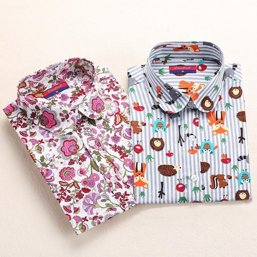 Dioufond algodón imprimir mujeres blusas camisas trabajo escolar Oficina Tops señoras Casual cereza camisa de manga larga mujeres ropa de moda