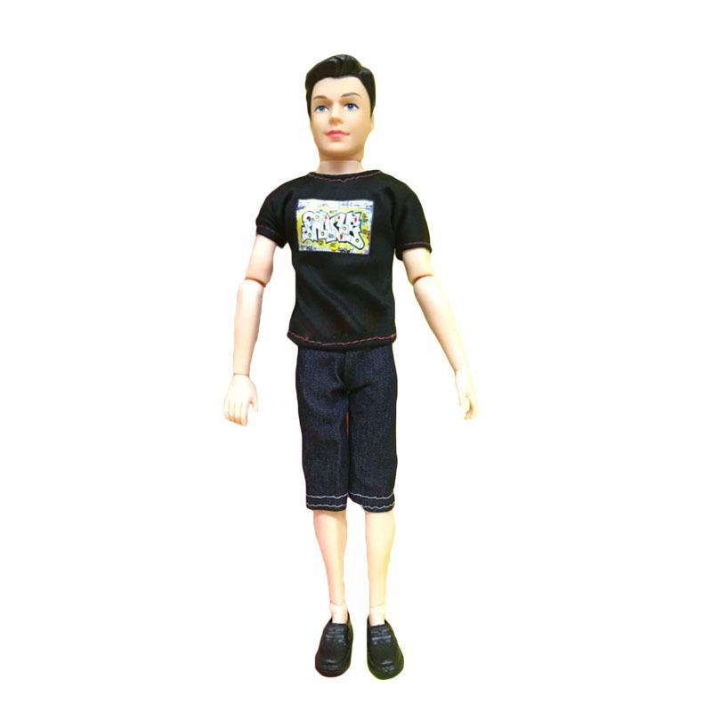 Ken Prince Doll with T-shirt + Pants + Shoes Casual Denim Clothes Suits for Barbiee Boyfriend Kid Toys New Year Gift 1 Piece/lot