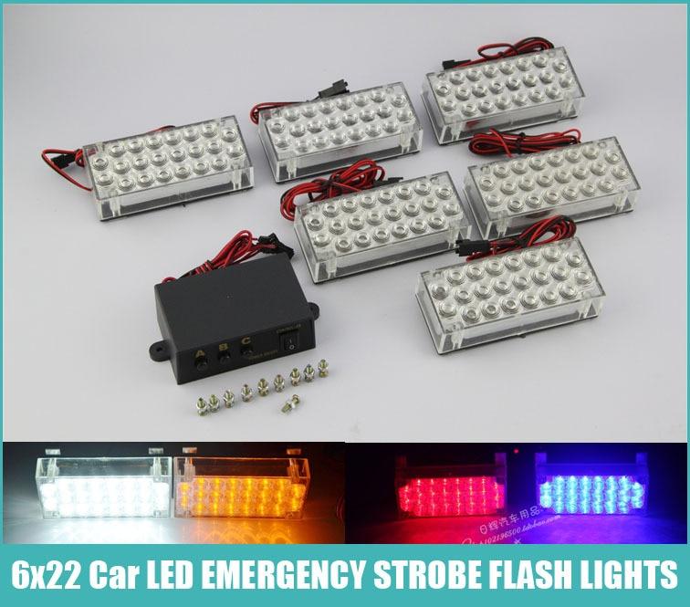 AEING 6 * 22 132 LED styl auta Flash Stroboskop Nouzové varování Policejní světlo 3 blikající režimy Červená / modrá / bílá / Abmer