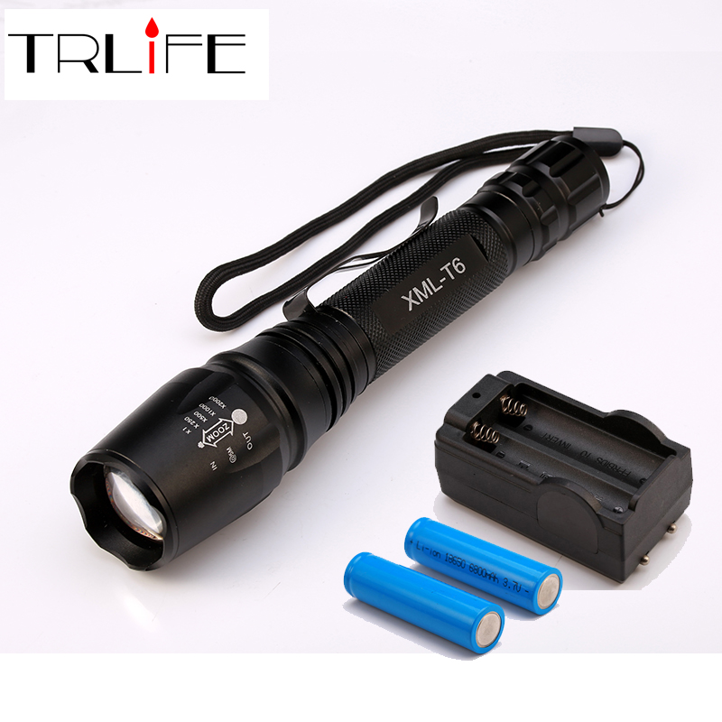 6000LM Flashlight LED CREE XM-L T6 Torch Zoomable Focus Tactical Flashlight Camping Light Lamp+2x18650 Battery+Charger led tactical flashlight 501b cree xm l2 t6 torch hunting rifle light led night light lighting 18650 battery charger box