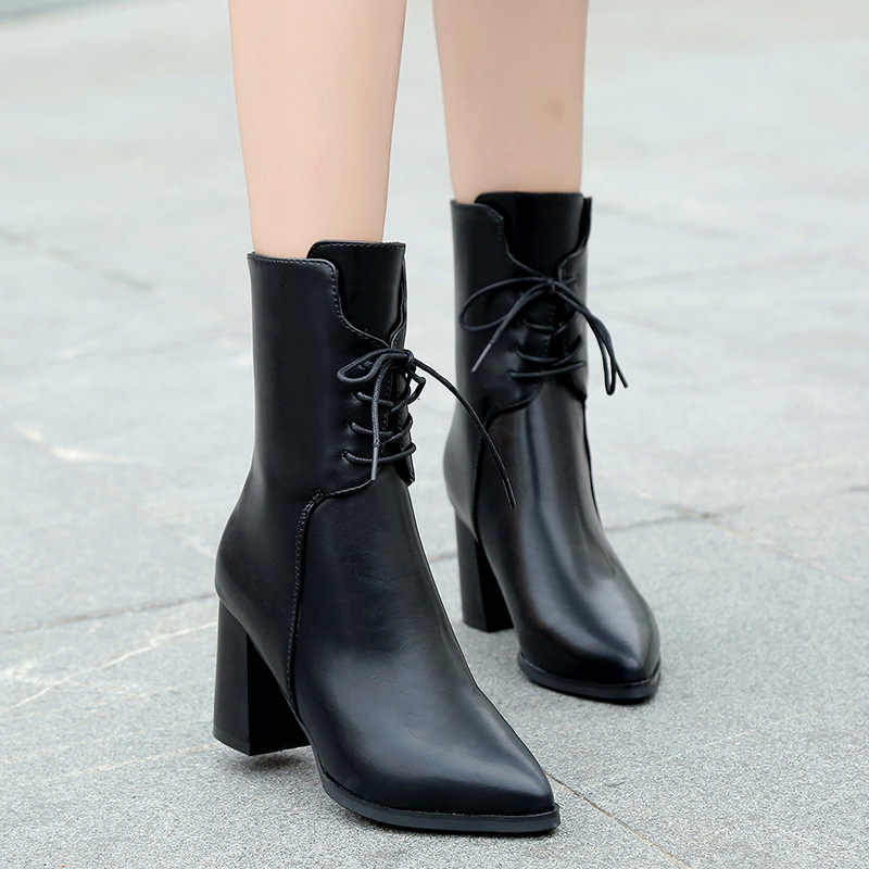 0a0aadb748c0 2019 autumn winter leather boots women pointed toe cross-tied ankle booties  black green