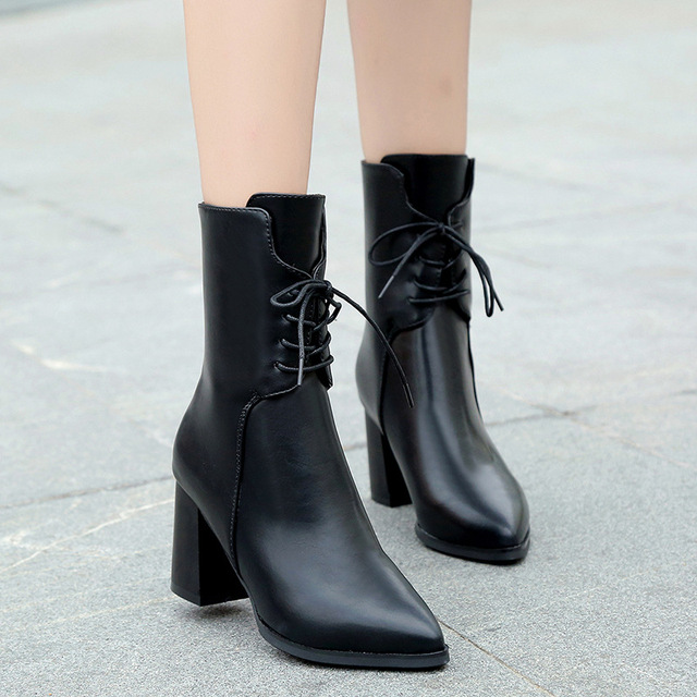 a81a14ab9 2019 autumn winter leather boots women pointed toe cross-tied ankle booties  black/green plush keep warm chelsea botas mujer y809