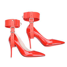 Feet Restraint Sex Toy Games For Woman High Heels Shoes PU Leather Foot Bondage Female Fetish Kit For Couples Adult Sex Product(China)