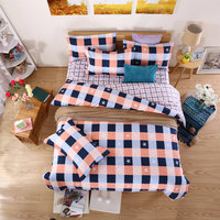 Ultra-Comfortable Home Textiles Supplies Jade Plus White Deep Blue Star Lattice Printing Pattern Four-Piece Quilt+Bed+Pillowcase