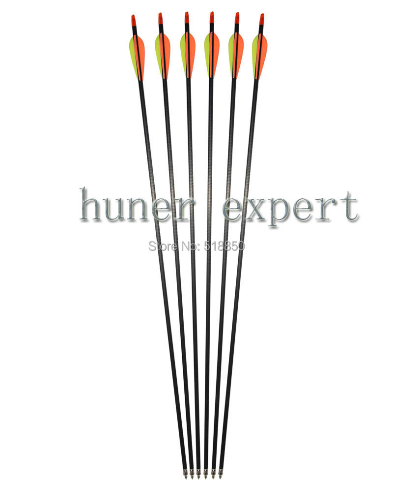ФОТО MIX carbon arow 31'' spine 400 fletching 3'' arrow feather 15pcs for take down wood bow hunting