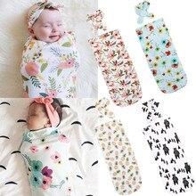 Комплект из 2 предметов, Пеленальное Одеяло для новорожденных девочек, пеленка для сна, хлопковые милые постельные принадлежности обертки, повязка на голову, принт 65 см* 29 см