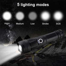 Led Flashlight XHP50 Linterna Rechargeable18650 Mini High-Power Zoomable for Outdoor