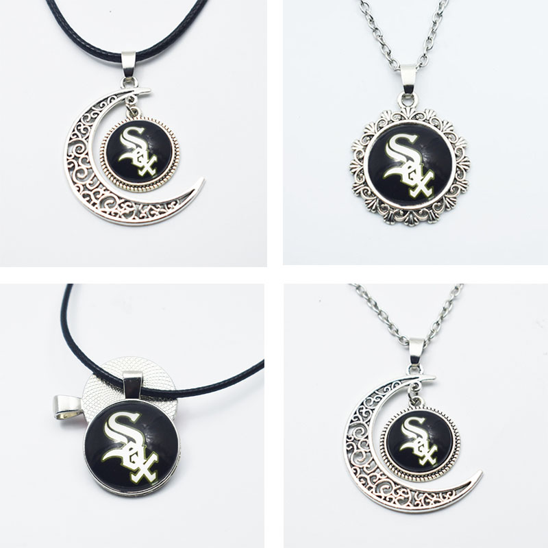 10PCS New Style Sports Baseball Chicago White Sox Team Jewelry 16MM/25MM Pendant Necklace