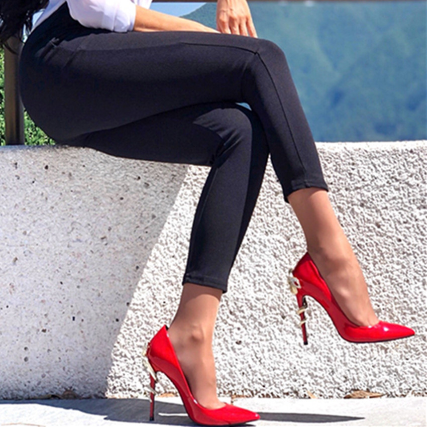 Roni Bouker Golden Snake Sexy Woman High Heels Pumps Women Stiletto Pointed Toes Genuine Patent Leather Wedding Shoes Red Black