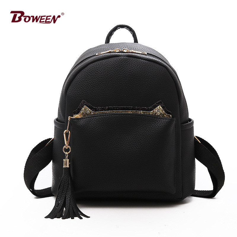 Solid Pu Leather small women Backpack for girls Simple Cute Cat Back Pack Female mochila bagpack Ladies Tassel Fashion Design