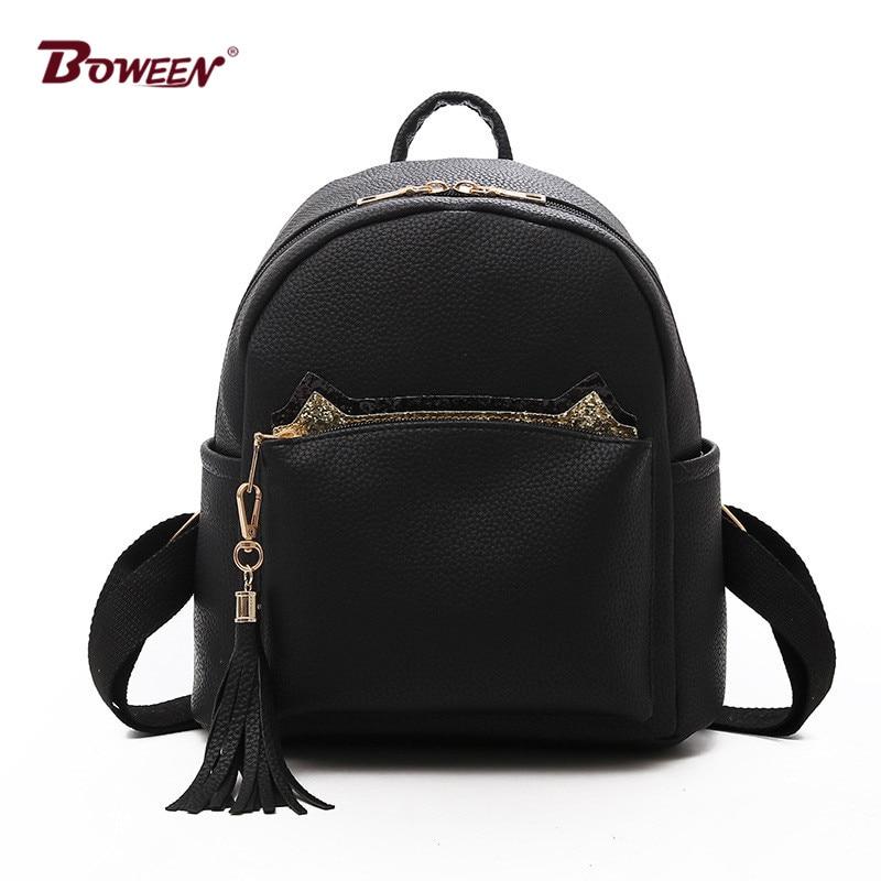 цены Solid Pu Leather small women Backpack for girls Simple Cute Cat Back Pack Female mochila bagpack Ladies Tassel Fashion Design